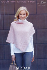 Womens Poncho in Sirdar Country Style 4 Ply (7344)