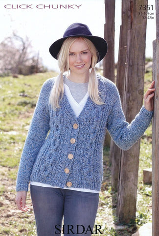 Womens Cardigan in Sirdar Click Chunky (7351)