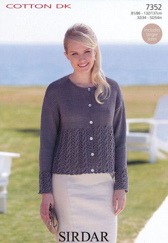 Womens Round Neck Cardigan in Sirdar Cotton DK (7352)