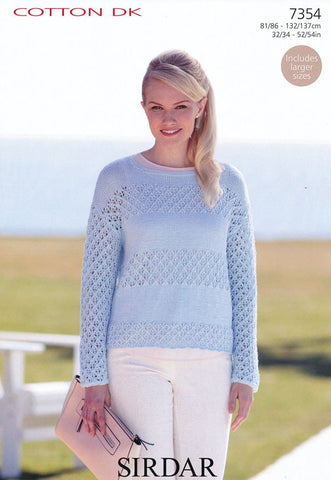Womens Round Neck Sweater in Sirdar Cotton DK (7354)