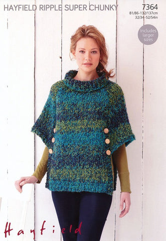 Womens Poncho in Hayfield Ripple super Chunky (7364)