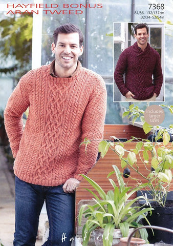 Mens Round Neck and Mens Wrap Neck Sweater in Hayfield Aran Tweed (7368)