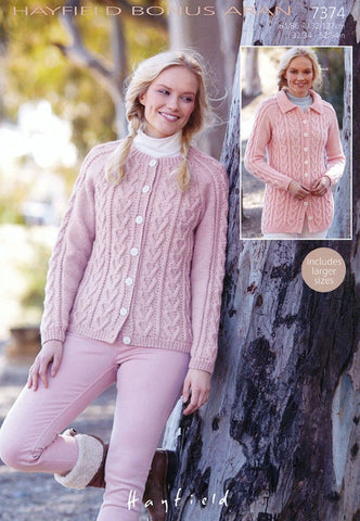 Womens Round Neck and Flat Collared Cardigans in Hayfield Bonus Aran (7374)