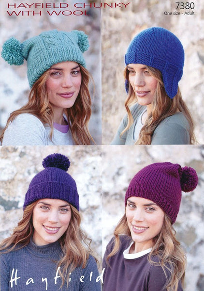 Pom-pom Hat, Helmet, Pull-On Hat and Slouchy Hat in Hayfield Chunky with Wool (7380)