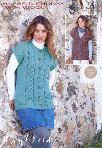 Womens Round Neck and V Neck Gilets in Hayfield Chunky with Wool (7382)