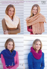 Womens Snood and Scarves in Hayfield Super Chunky with Wool (7383)