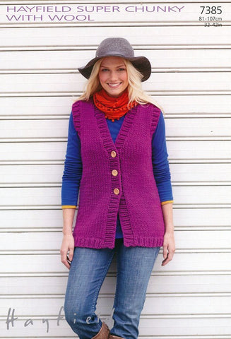 Womens Longer Length Waistcoat in Hayfield Super Chunky with Wool (7385)