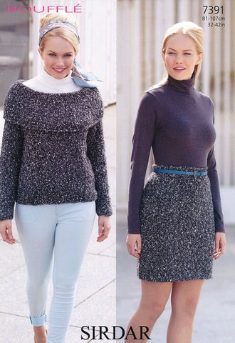 Womens Sweater and Skirt in Sirdar Bouffle (7391)