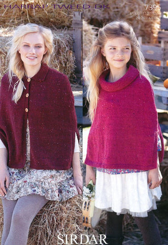 Girls and Womens Capes in Sirdar Harrap Tweed DK (7395)-Deramores