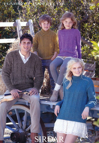 Family S.U.N, V Neck, Wrap Neck and Round Neck Sweaters in Sirdar Harrap Tweed DK (7396)-Deramores