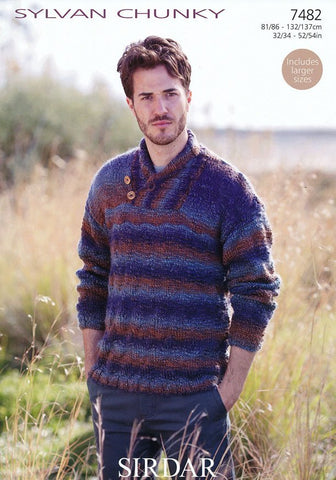 Mens Wrap Neck Sweater in Sirdar Sylvan Chunky (7482)