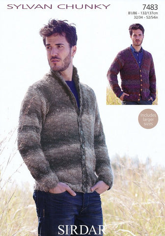 Mens V Neck and Shawl Collared Cardigans in Sirdar Sylvan Chunky (7483)