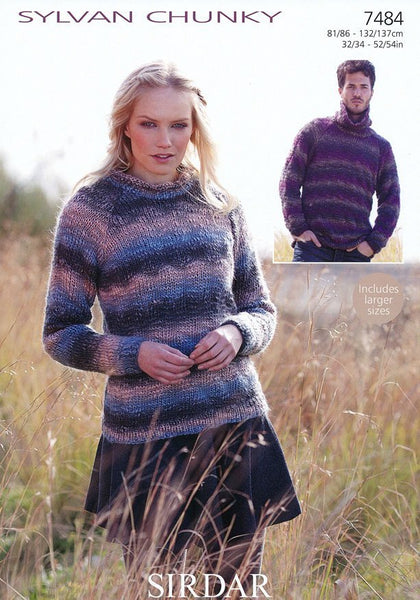 Roll Neck and Cowl Neck Sweaters in Sirdar Sylvan Chunky (7484)