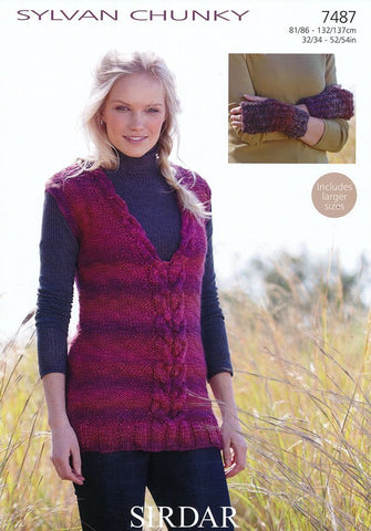 Womens Tunic and Wristwarmers in Sirdar Sylvan Chunky (7487)