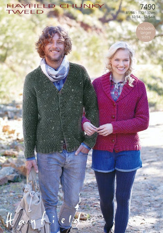 Shawl Collar and V Neck Cardigans in Hayfield Chunky Tweed (7490)