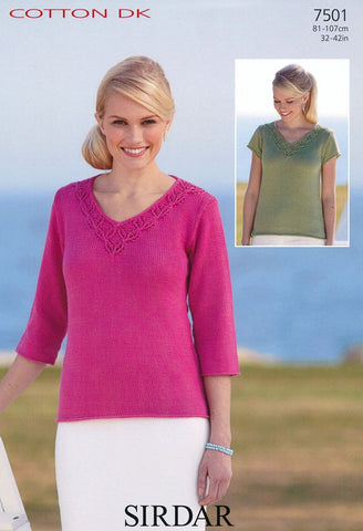 Short Sleeved and 3/4 Sleeved Tops in Sirdar Cotton DK (7501)