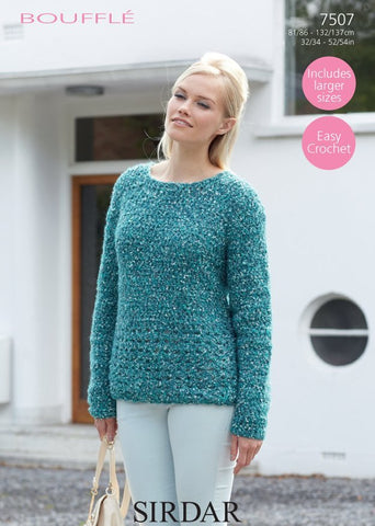 Round Neck Sweater in Sirdar Bouffle (7507)