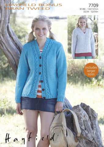 Cardigan and Sweater in Hayfield Bonus Aran Tweed (7709)-Deramores