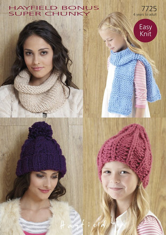 Hats, Snood and Scarf in Hayfield Bonus Super Chunky (7725)-Deramores