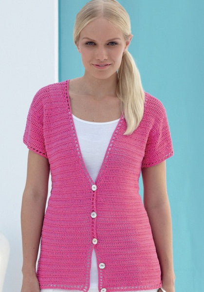 Crocheted Womens Cardigan in Sirdar Cotton 4 Ply (7747)