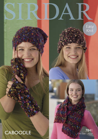 Hats, Scarf and Wrist Warmers in Sirdar Caboodle (7841)-Deramores