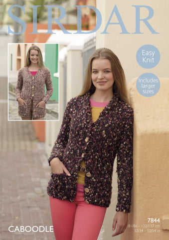 Shawl Collared and V Neck Collared Cardigans in Sirdar Caboodle (7844)