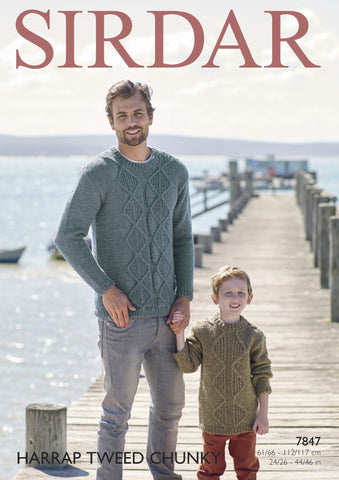 Mens and Boys Sweaters in Sirdar Harrap Tweed Chunky (7847)