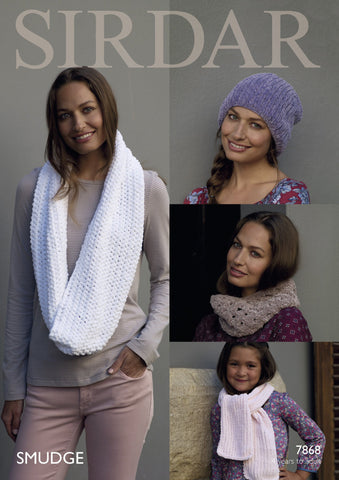 Snoods, Scarf and Hat in Sirdar Smudge (7868)