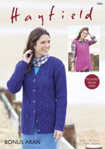 Cardigan and Waistcoat in Hayfield Bonus Aran (7900) Digital Version