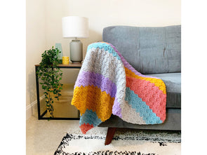 Tropical Stripes Blanket Crochet Kit and Pattern