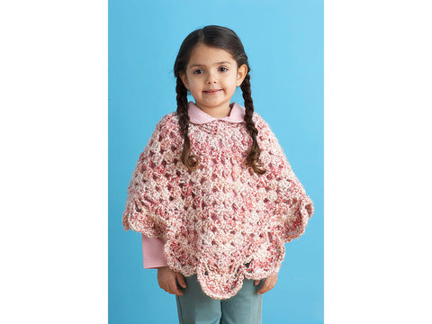 Girl's Poncho in Lion Brand Homespun Yarn