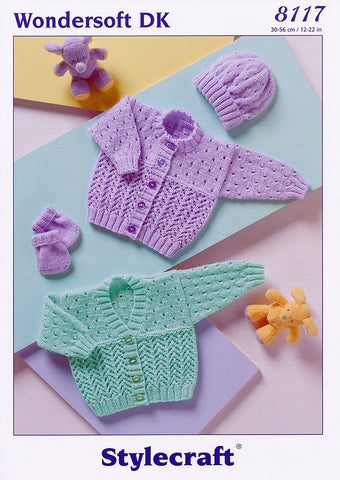 Cardigans, Hat & Mittens in Stylecraft Wondersoft DK (8117)-Deramores
