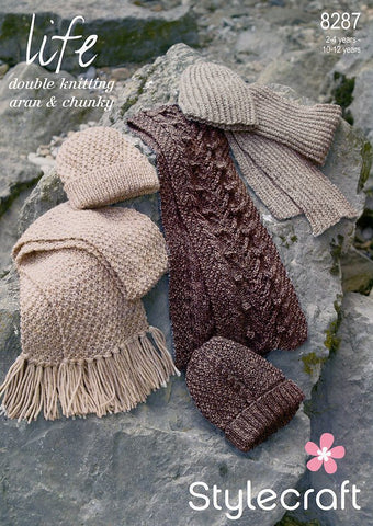 Scarves and Hats in Stylecraft Life DK, Aran and Chunky (8287)