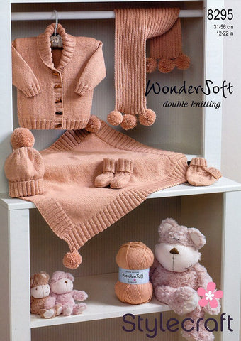 Jacket, Blanket, Scarf, Hat, Mittens & Bootees in Stylecraft Wondersoft DK (8295)-Deramores