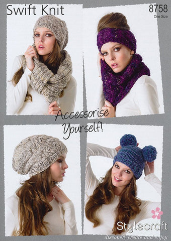 Hats, Headband, Neckwarmer and Snood in Stylecraft Swift Knit (8758)-Deramores