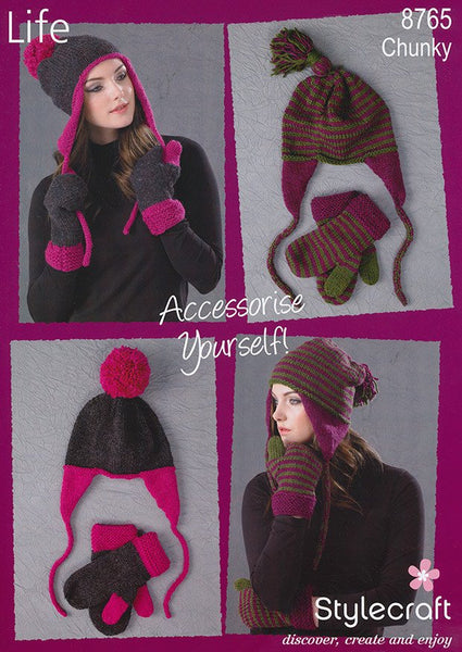 Ear Flap Beanie and Mitts in Stylecraft Life Chunky (8765)-Deramores