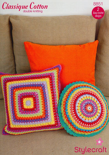 Crochet Cushions in Stylecraft Classique Cotton DK(8851)-Deramores