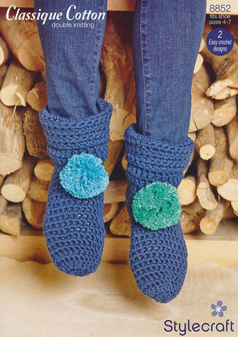 Slipper Boots in Stylecraft Classique Cotton DK (8852)