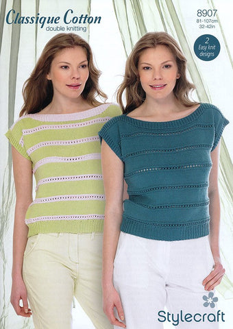 Ladies Tops In Stylecraft Classique Cotton DK (8907)-Deramores