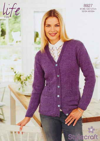 Cardigan in Stylecraft Life 4 Ply (8927)-Deramores