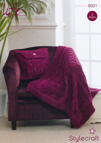 Cushion and Throw in Stylecraft Life Chunky (8931)-Deramores