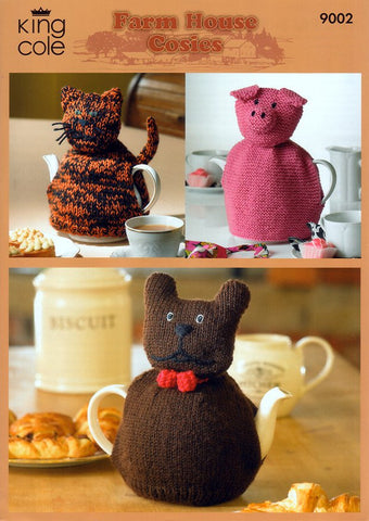 Cat, Pig & Dog Cosies in King Cole Merino Blend DK (9002)-Deramores