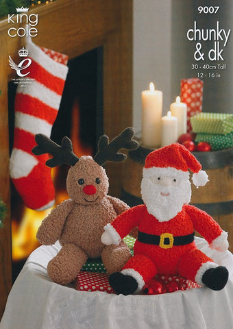Santa and Rudolph toys and Stocking In King Cole Chunky & DK (9007)