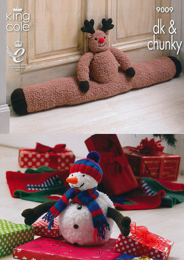 Rudolph Draught Excluder Christmas Tree Skirt and Snowman Toy in King Cole DK & Chunky (9009)