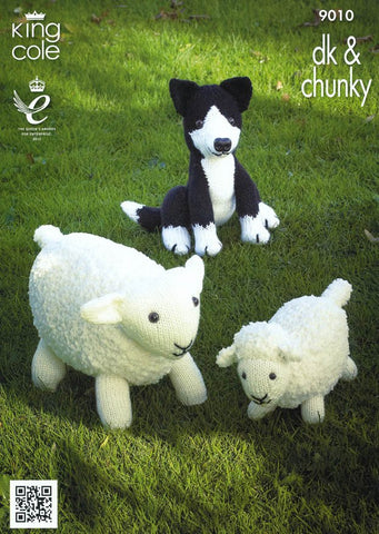 Sheep, Lamb and Sheepdog Toys in King Cole Chunky & DK (9010)
