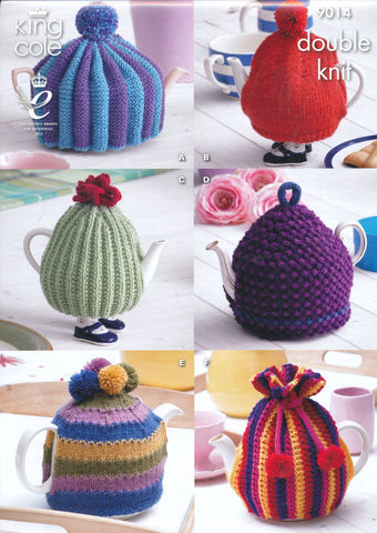Tea Cosies Designed by Zoe Halstead in King Cole Merino Blend DK (9014)
