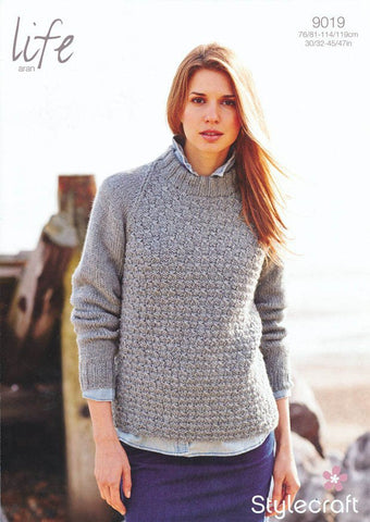 Ladies Raglan Sweater in Life Aran (9019)-Deramores