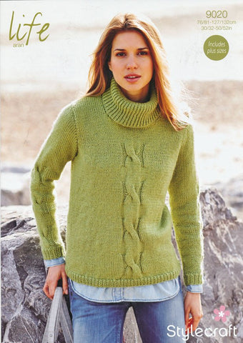 Ladies Polo Neck Sweater in Life Aran (9020)-Deramores