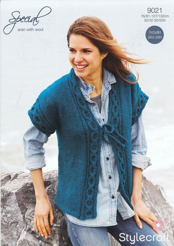 Tie Fronted Waistcoat in Life or Special Aran With Wool (9021)