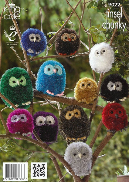 Owls in King Cole Tinsel Chunky, King Cole Dollymix and King Cole Merino Blend DK (9022)